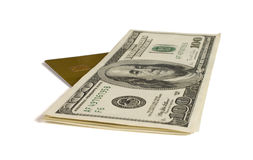 Finance. Dollar denominations and credit card it is isolated on a white background Stock Images
