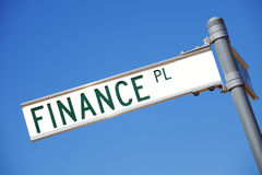 Finance. A street sign pointing to Finance stock images