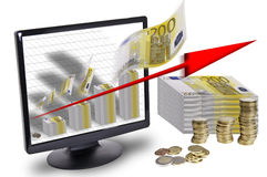Finance. This image shows a lot of money and a screen with a graph made with bank notes and a red arrow upwardly out of the screen Royalty Free Stock Photography