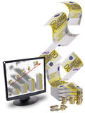 Finance. This image shows a lot of money and a screen with a graph made with bank notes and a red arrow upwardly out of the screen Stock Photos