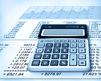 Finance. Bill and calculator, money currency Stock Images