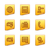 Finance 2 icons. Vector web icons, gold sticker series, V2 Stock Photos