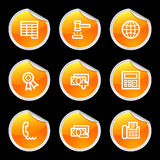 Finance 2 icons. Vector web icons, orange circle sticker series, V2 Stock Photography