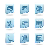 Finance 2 icons. Vector web icons, blue sticker series, V2 Royalty Free Stock Photography