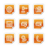 Finance 2 web icons. Vector web icons, orange glossy sticker series, V2 Royalty Free Stock Photography