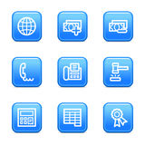 Finance 2 web icons. Vector web icons, blue glossy buttons series, V2 Stock Images