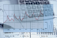Finance. Stats graph report,bills and calculator Stock Photo