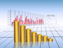 Finance. Golden graph , financial and business concept Royalty Free Stock Photo