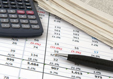 Finance. Analysis concept - a chart with a pen and a calculator and newspapers