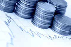 Finance. Some euro coins on a financial chart - blue tone Royalty Free Stock Photo