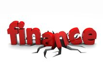 Finance. Red word finance over crack Stock Photos