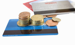 Finance. Euro coins and credit cards Stock Image