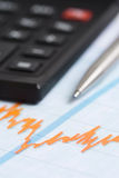 Finance. Chart finance, calculator and the pen stock images