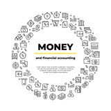 Finance account line icons. Money balance, real estate car crediting finance productivity poster. Bank business brochure stock illustration