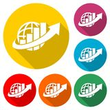 Finance Accounting Chart Arrow icon, color icon with long shadow. Simple vector icons set Royalty Free Stock Images
