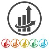 Finance Accounting Chart Arrow Logo, 6 Colors Included. Simple  icons set Stock Photos