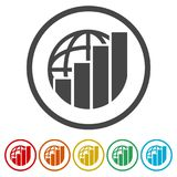 Finance Accounting Chart Arrow Logo, 6 Colors Included. Simple vector icons set Royalty Free Stock Photos