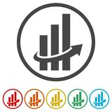Finance Accounting Chart Arrow Logo, 6 Colors Included. Simple vector icons set Royalty Free Stock Photo