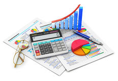Finance and accounting concept. Business finance, tax, accounting, statistics and analytic research concept: office electronic calculator, bar graph and pie Stock Images