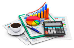 Finance and accounting concept. Creative abstract business finance, tax, accounting, banking, statistics and money analytic research concept: office electronic Royalty Free Stock Photos