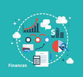 Finance and accounting concept for your design. Finance and accounting concept. Vector icons of money, analytics, e-commerce and financial planning in flat Royalty Free Stock Photo