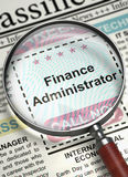 Finance Administrator Hiring Now. 3D. Stock Photography