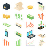 Finance analysis banking management icons collection. Finance analysis banking management icon isometric flat set isolated illustration. Vector icons collection Stock Images