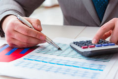 The finance analyst looking and financial reports. Finance analyst looking and financial reports stock image