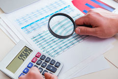 The finance analyst looking and financial reports royalty free stock image