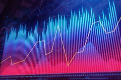 Finance, analytics and economy concept. Creative colorful forex chart background. 3D Rendering Stock Photos