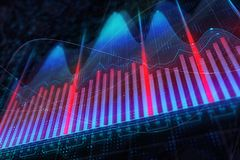 Finance, analytics and investment concept. Creative colorful forex chart background. 3D Rendering Stock Photography