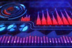 Finance, analytics and market concept. Creative colorful forex chart background. 3D Rendering Stock Photography