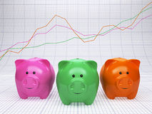 Finance analyzing. Three piggy banks with graph behind.  Finance analyzing concept Royalty Free Stock Photo
