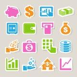 Finance And Money Sticker Icon Set. Royalty Free Stock Photo