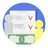 Finance audit and check icon. Finance audit and check. Account and finance. Vector illustration Stock Photography