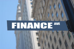 Finance avenue. Plaque, concept photo stock images