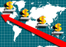 Finance background. World map, world finance grow better vector illustration