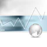 Finance background. Business chart - bar graph with globe Royalty Free Stock Images