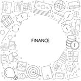 Finance background from line icon. Linear vector pattern Stock Image