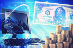 Finance background with money, dollars and computer. Royalty Free Stock Photo