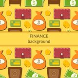 Finance background with objects in flat style and. Finance business economics background with objects in flat style and central space for text Stock Image
