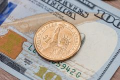 US Dollar bills and coin. Finance concept. Finance background - US Dollar bills and coin. Finance concept Stock Image