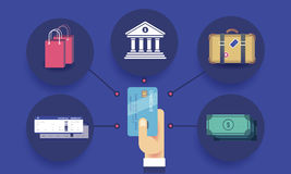 Finance Baggage Credit Currency Journey Concept.  Royalty Free Stock Images