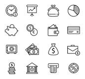 Finance and bank Icon Set. Simple line style black icons on white background Royalty Free Stock Photos