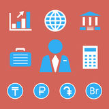Finance and bank icons with currency symbols. Royalty Free Stock Photos
