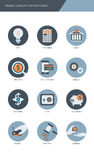 Finance and banking business concept Flat icons set.  Stock Image