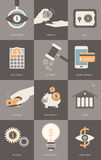 Finance and banking business concept modern Flat icons set.  Stock Photography