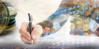 Finance, banking concept. businessman signs documents. Abstract image of Financial system with selective focus, toned. Double exposure Stock Photos