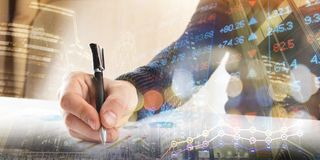 Finance, banking concept. businessman signs documents. Abstract image of Financial system with selective focus, toned. Double exposure Stock Photo