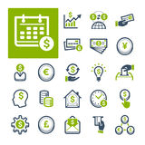 Finance, Banking and Currency (Part 1). A selection of icons related to Finance, Banking and Currency Stock Image